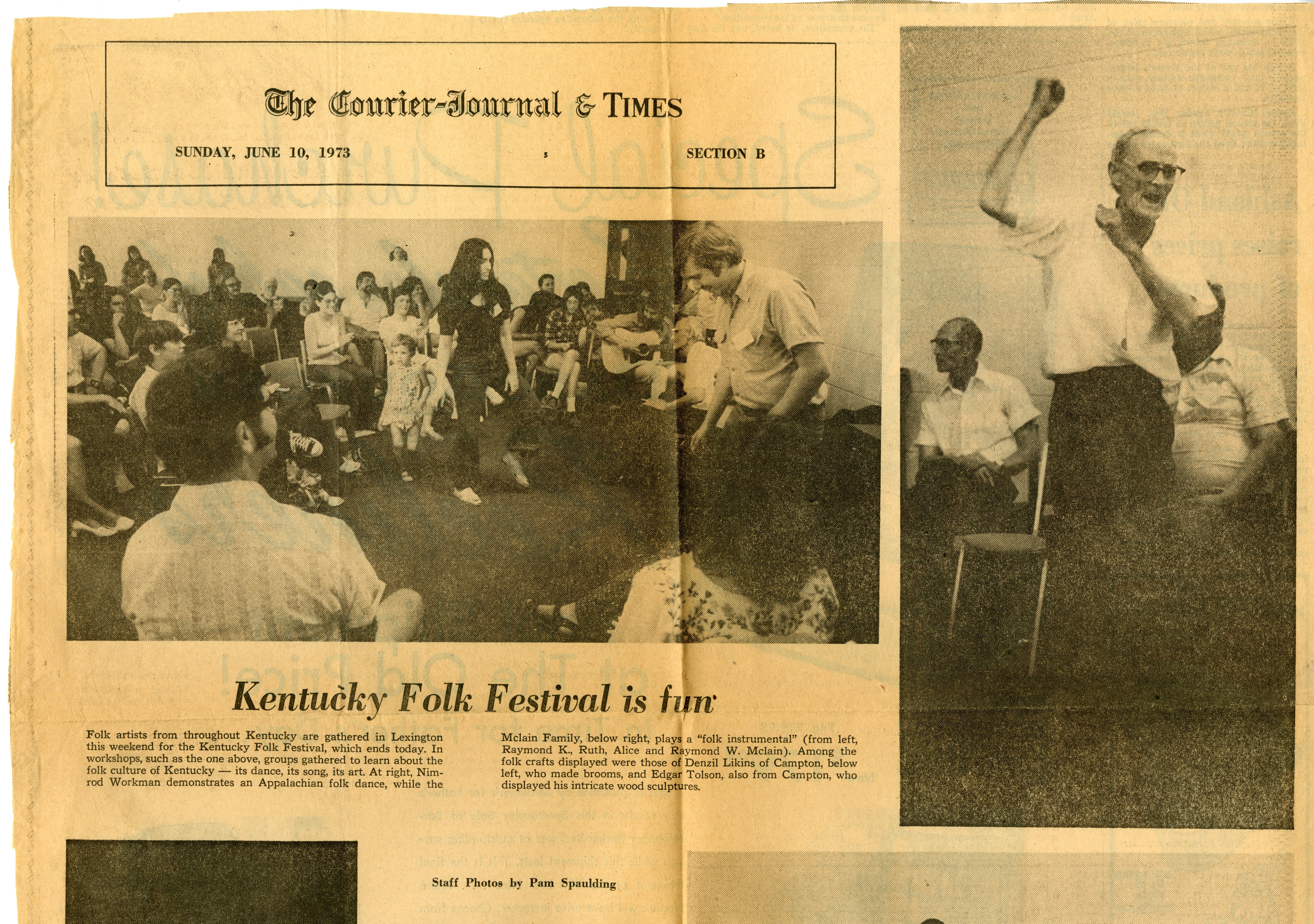 cover of a newspaper featuring a picture of Nimrod Workman at the Kentucky Folk Festival
