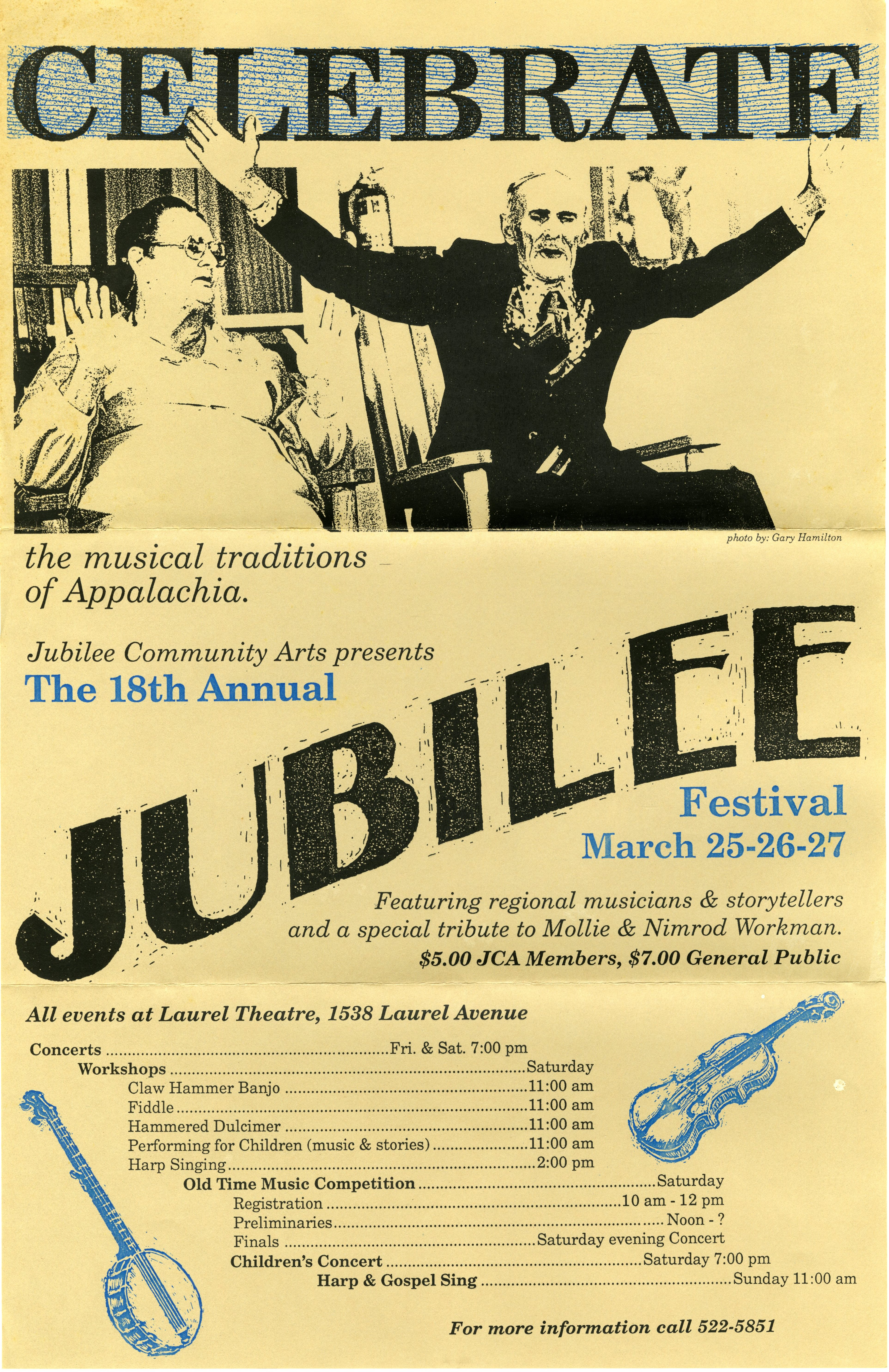 poster for the Jubilee Festival features a photograph of Mollie and Nimrod Workman