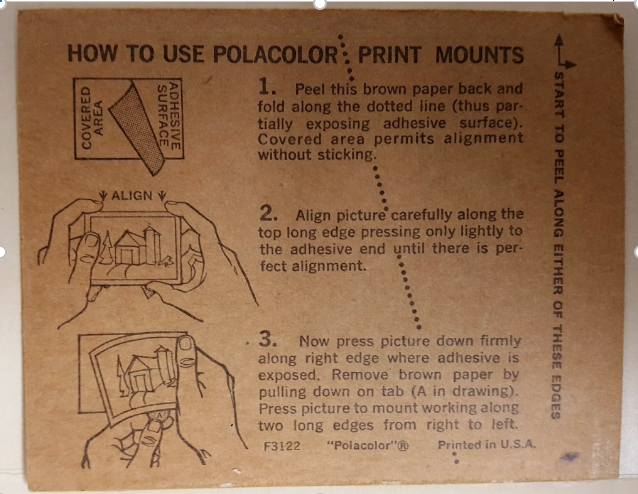 back side of polaroid photo mount with instructions on how to peel off photograph and attach it to the mount