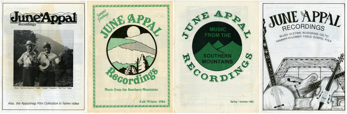 four covers of recording catalogs, illustrates different June Appal logos over time