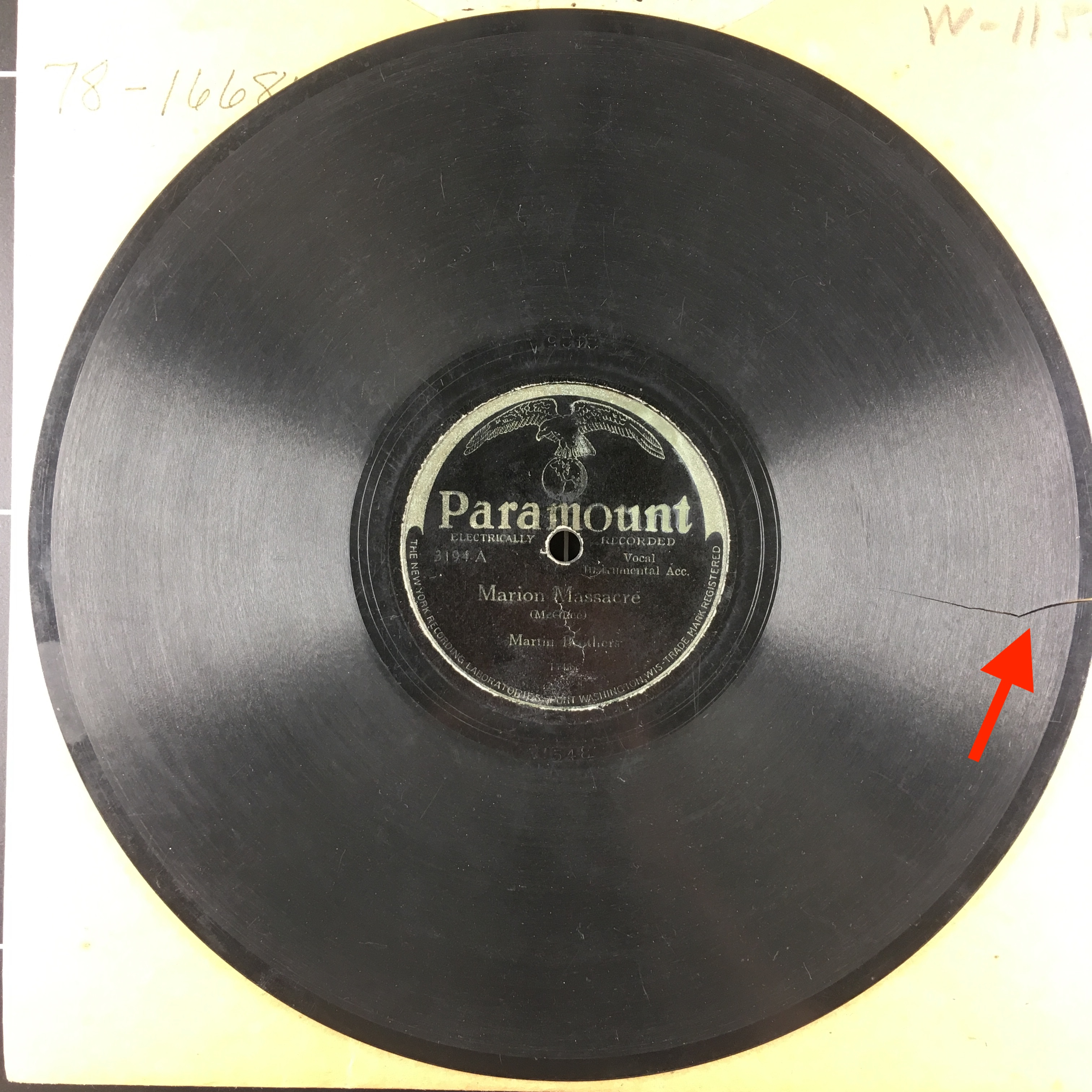 "Record label for 78RPM record. Text reads: Paramount, Electrically Recorded. 3194-A. Vocal, Instrumental Acc. Marion Massacre (McGhee). Martin Brothers. Bottom of label reads: ""The New York Recording Laboratories - Port Washington, Wis-Trade Mark Registered."""