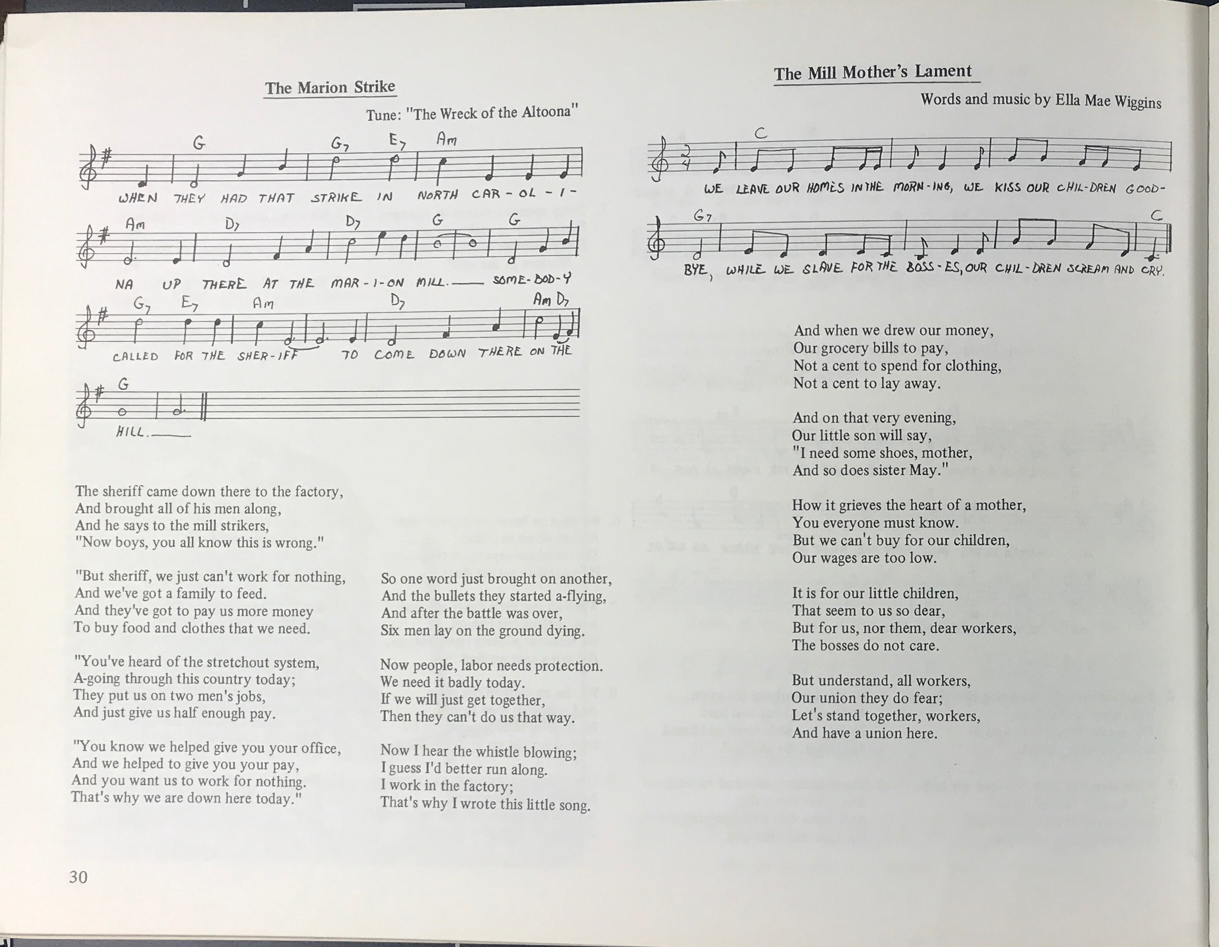 "Page from the Working Women's Music songbook featuring ""The Mill Mother's Lament"" words and music"