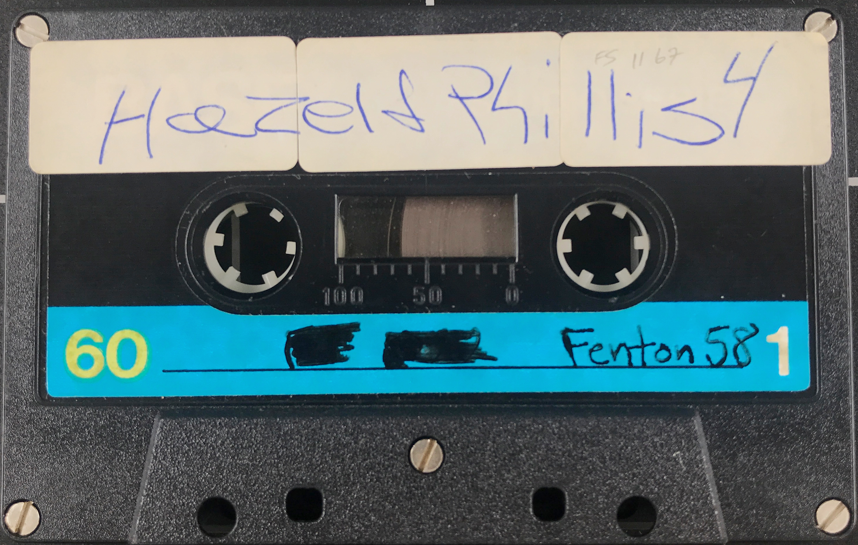 Audiocassette tape with handwritten label