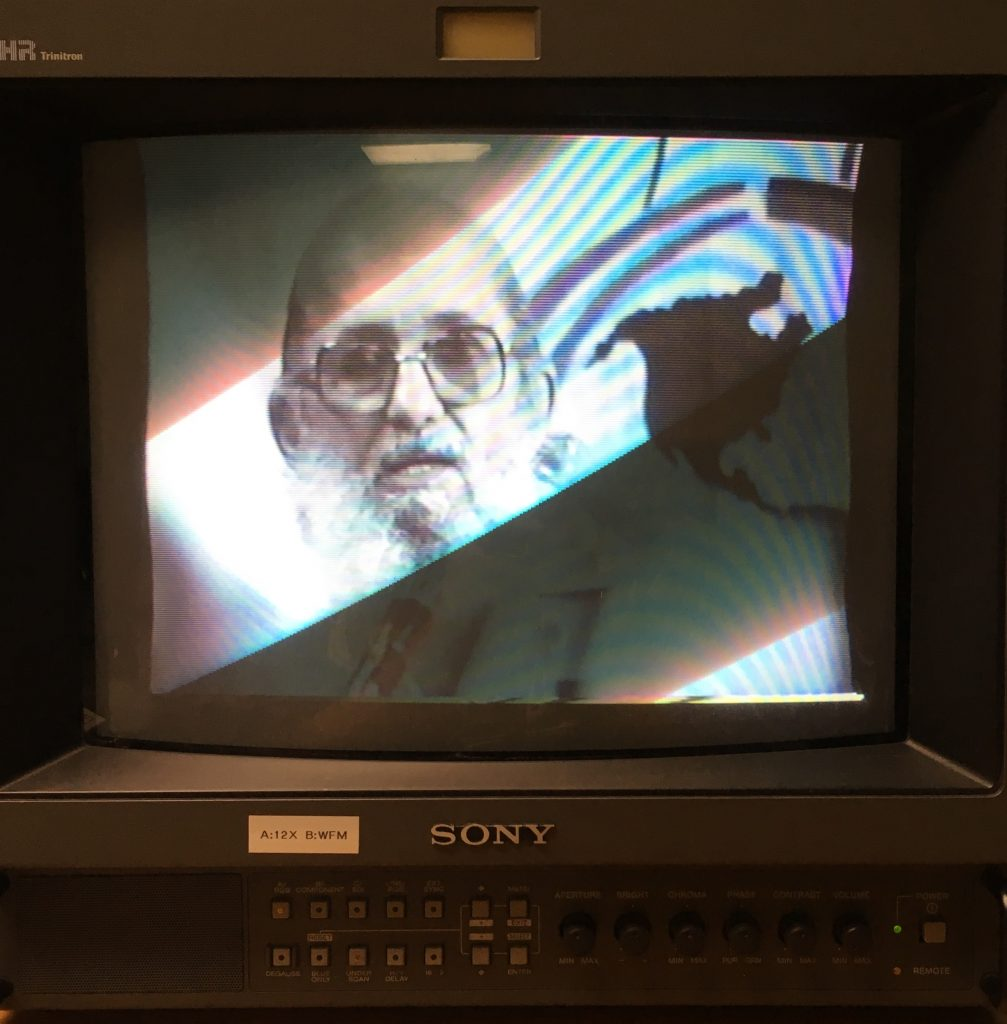 an image of Paulo Freire on a televison screen