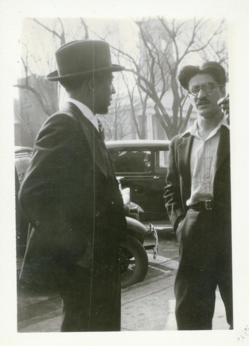 December 1931: Langston Hughes (left) and Anthony Buttitta standing on Franklin Street in downtown Chapel Hill. From Contempo Records (#4408), Southern Historical Collection, UNC-Chapel Hill.