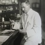 Circa 1920: Milton Rosenau in laboratory.