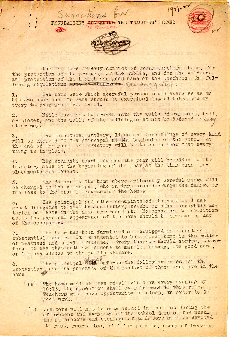 Regulations for Teachers' Homes, by Charles L. Coon