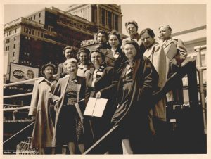 North Carolina delegation to the Biennial Convention of the AAUW, Atlantic Ciy, N.J., 22 April 1951 (Guion Johnson shown front row, second from right)