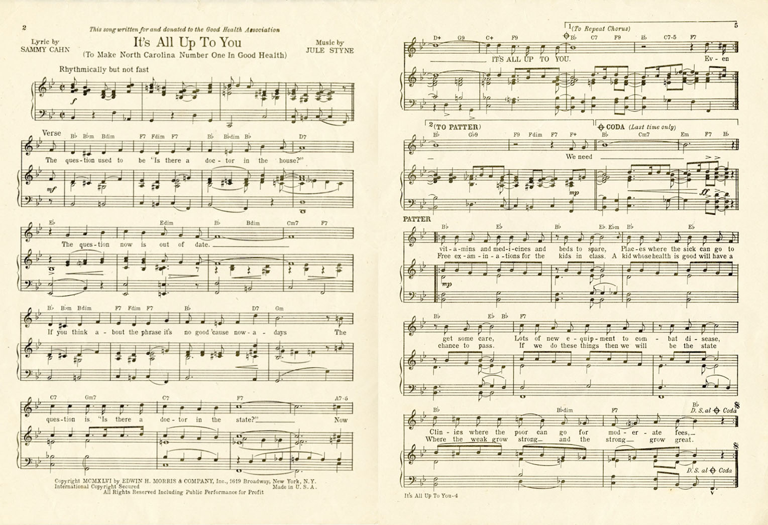 """It's All Up to You"" music and lyrics. From the Kay Kyser and Georgia Carroll Kyser Papers #5289, Southern Historical Collection."