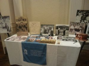 Display table of materials featuring reproductions of African American family materials that we have accessioned so far.