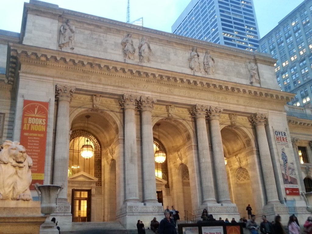 The facade of the Bryant Park branch of the New York Public Library, October 31, 2014.