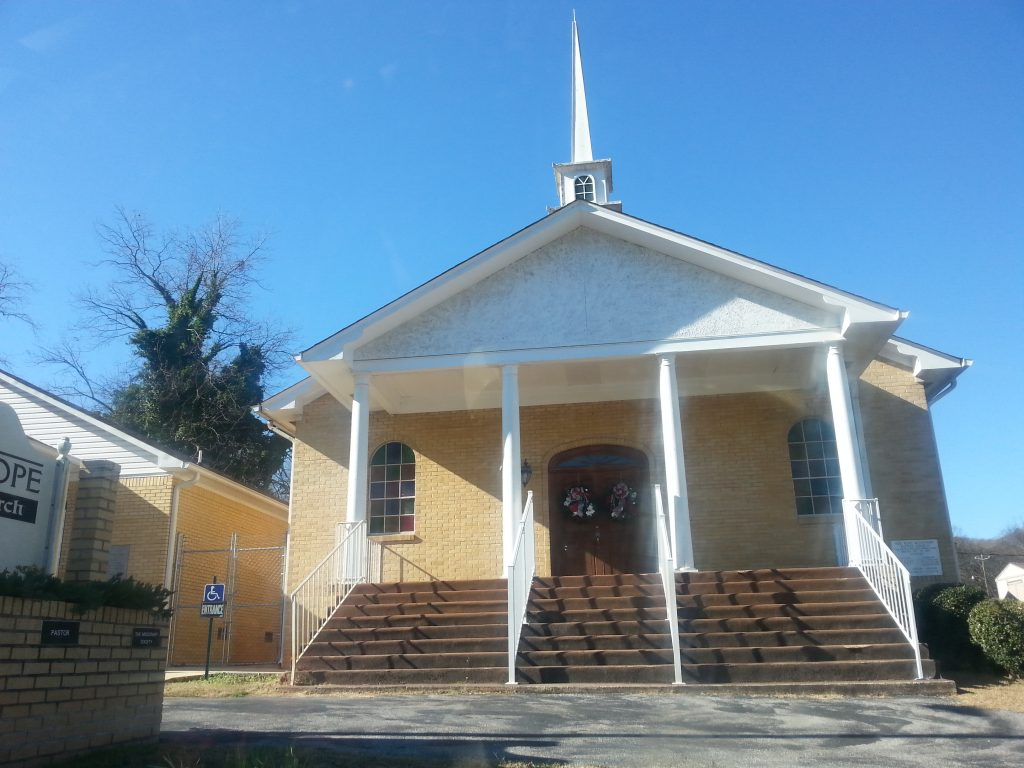 Façade of New Hope Baptist Church, Hobson City, Alabama