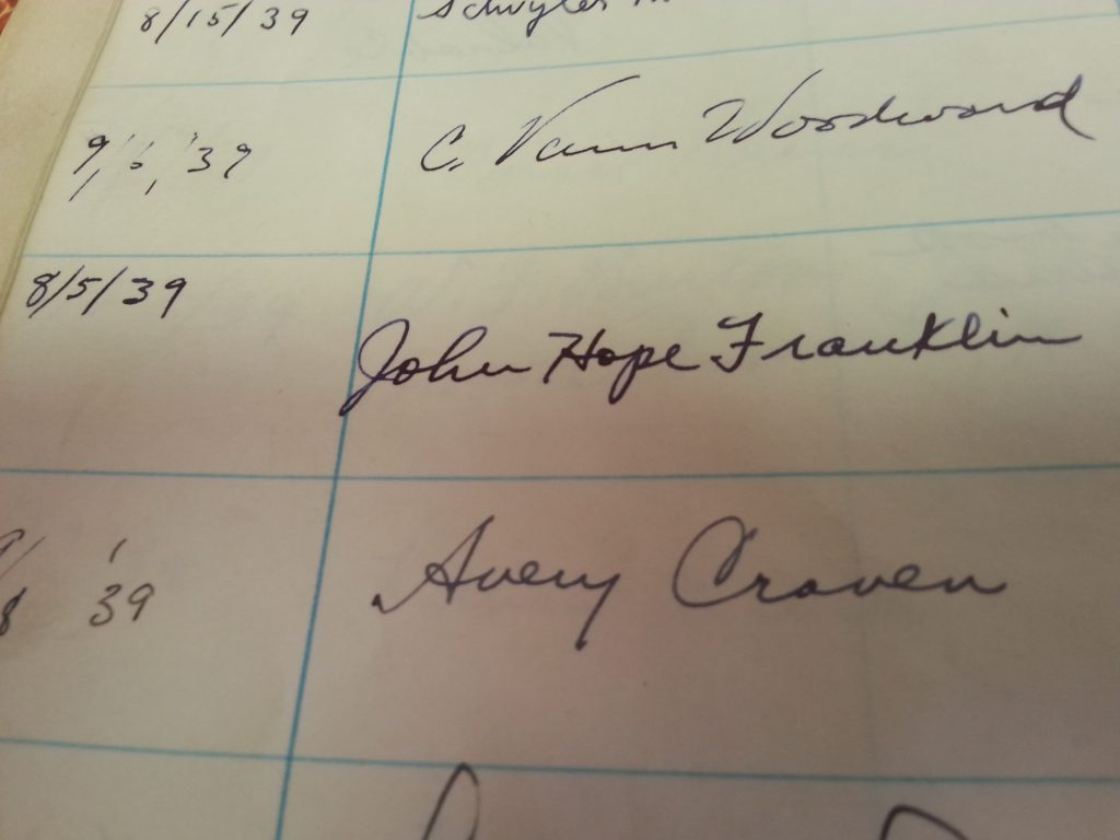 John Hope Franklin signature in the Southern Historical Collection Registration Book (University Archives, #40052)