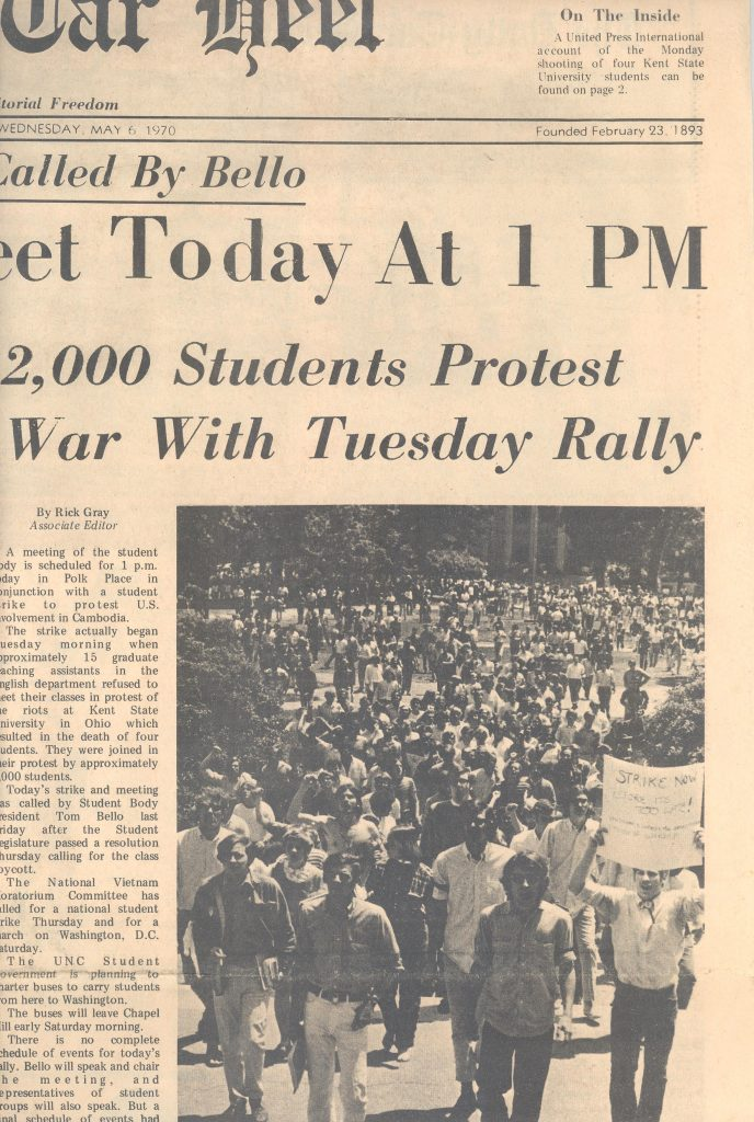 "Clipping from The Daily Tar Heel of the ""March on South Building"" from May 6,1970"