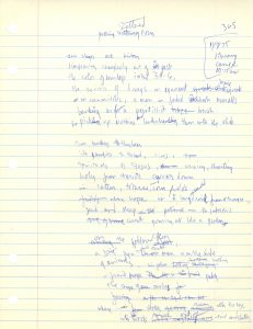 "Handwritten draft of Stephenson's poem, ""Gathering Scattered Corn"""