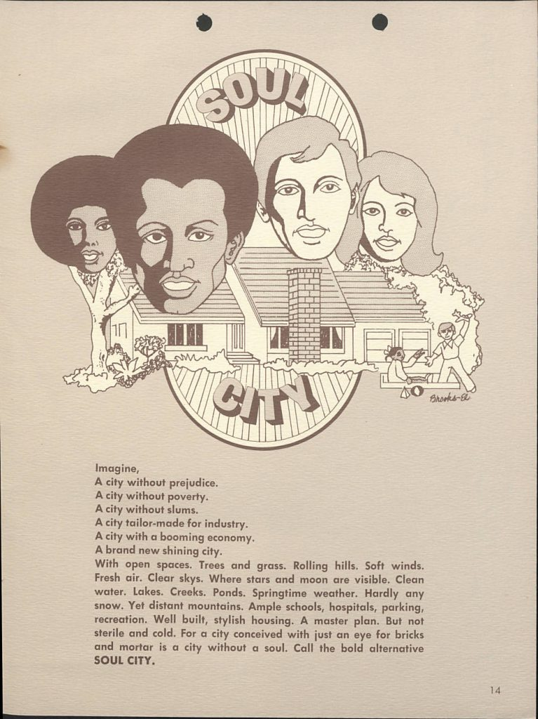 Page of the Groundbreaking Ceremony Brochure from Soul City, NC, with a drawing of a cabin with faces of four people above it. Below is a imaginative description of the town and what it's goals are.