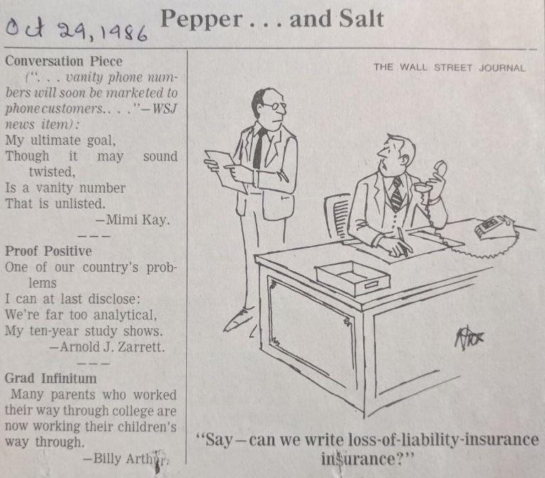 Joke printed in the News & Observer newspaper on October 29, 1986. Found in series 3, folder 28.