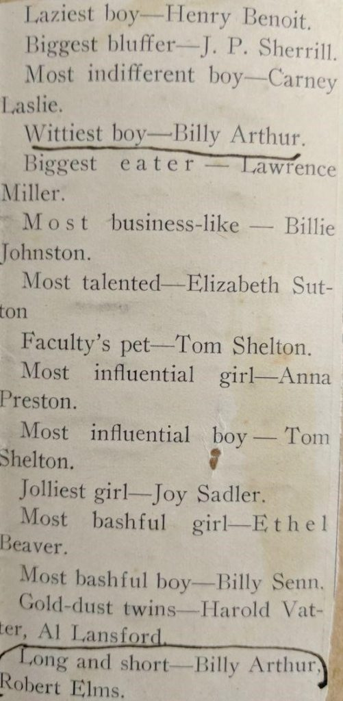 Scrapbook clipping from Arthur's college days. Found in series 5, folder 59.