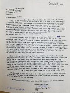 James Reston, Jr. Papers, folder 67 Letter