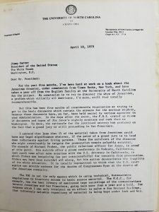 James Reston, Jr. Papers, folder 70 Letter Page 1