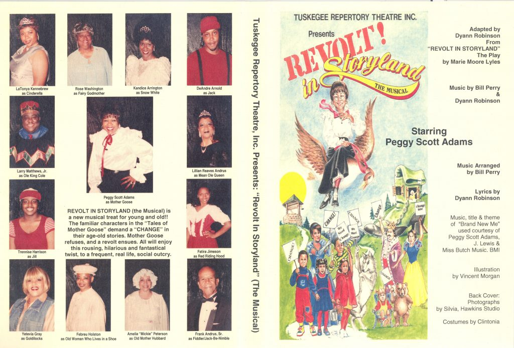 """Program for Tuskegee Repertory Theatre's presentation of """"Revolt! in Storyland: the Musical, adapted by Dyann Robinson from the play by Marie Moore Lyles,"""" featuring images of members of the majority Black cast."""