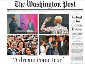A smiling Bernetiae Reed as part of a crowd of primarily African Americans at the opening of the museum, among a series of related photos on the front page of the Washington Post newspaper