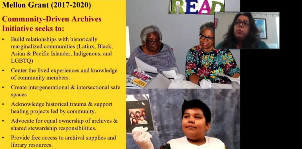 A Powerpoint slide featuring photos of Black and Latinx community members reviewing archival materials