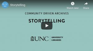 Title page of Storytelling webinar with UNC logo