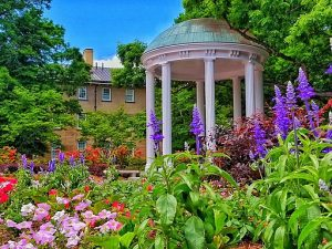 the Old Well at UNC-Chapel Hill surrounded by Spring flowers
