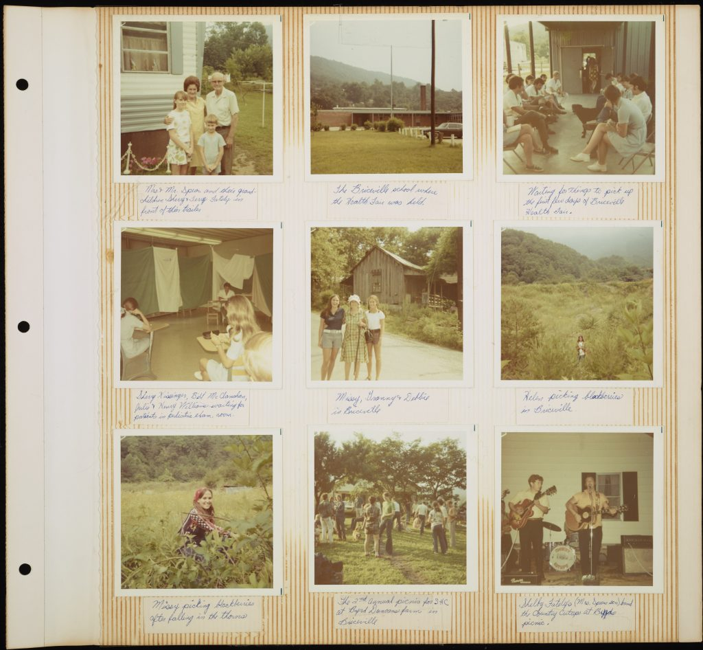 A page from ASHC participant Deborah Cogswell's 1971 scrapbook documents her experience in several Appalachian communities. Pictured here are snapshots from the Briceville, TN health fair, Cogswell's host family (Willie and May Spears), and other outings with friends and local community members. The page features nine square polaroids, each with handwritten descriptive text underneath.