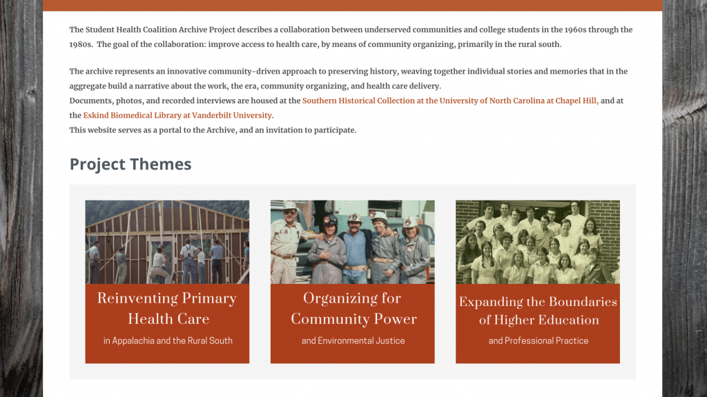 The Appalachian Student Health Coalition's new website homepage features the project's three most prominent themes: Reinventing Primary Healthcare in Appalachia and the Rural South, Organizing for Community Power and Environmental Justice, and Expanding the Boundaries of Higher Education and Professional Practice. Each of the themes is displayed as a box with corresponding photographs on the top half and white text amidst a deep orange backdrop on the bottom. They are centered side-by-side across the screen.
