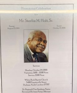 "Cover of Sterlin M. Holt, Sr.'s ""Homegoing Celebration"" program, featuring a photo of him. It notes his ""Sunrise"" in 1919 and his ""Sunset"" in 2016. The data of the memorial service is noted as October 24, 2016."