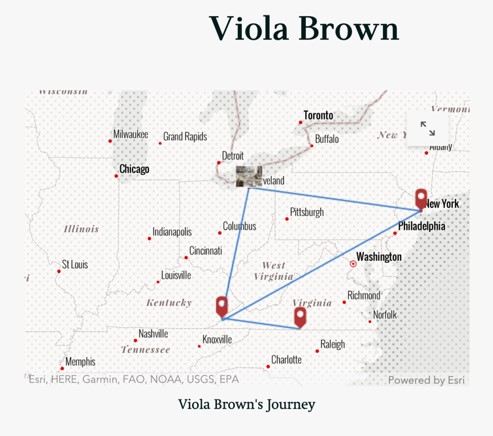 """A map of the U.S. Northeast and part of the South reading, """"Viola Brown's Journey,"""" featuring map points in southern Virginia, eastern Kentucky, New York City, New York, and Cleveland, Ohio, with lines drawn between them to indicate movement. The point over Cleveland features a small, blurred graphic"""