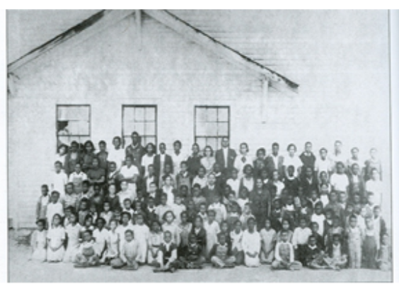 Students in front of the Walnut Cove Rosenwald School, in 1930 (Stokes County, NC)