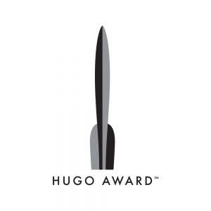 The Hugo Award logo is a trophy shaped like a spaceship and the title, Hugo Award
