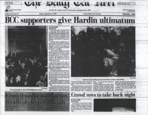 "A digitized Daily Tar Heel front page from September 9, 1992, with headline ""BCC supporters give Hardin ultimatum"""