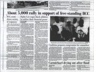 "A digitized September 1992 article from the Daily Tar Heel with the headline ""About 5,000 rally in support of free standing BCC"""
