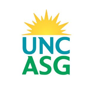 Logo with a yellow sunburst and the letters UNC ASG in blue and green