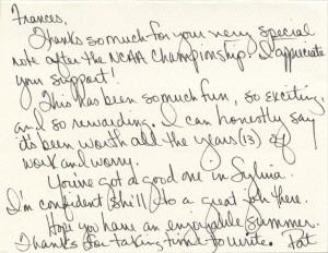 Pat Summitt Letter