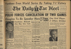Cover of the Daily Tar Heel, Oct. 3, 1952