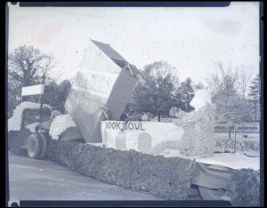 A float from the 1951 Beat Dook parade showing a Tar Heel Ram eating a bowl of Duke cereal for breakfast. P0033/0040, the Roland Giduz Photograph Collection, the North Carolina Collection Photographic Archives, Wilson Library