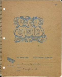 The cover of Karen Parker's notebook from her time at UNC.  The Karen L. Parker Diary, Letter and Clippings, Folder 1, #05275-z, The Southern Historical Collection, The Louis Round Wilson Special Collections Library.