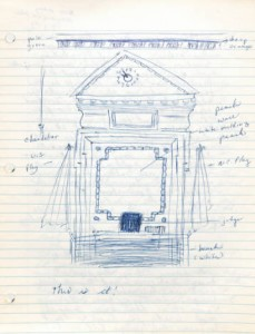 2 March 1964 drawing of the inside of the Orange County Superior Court in Hillsborough, NC.  From the Karen L. Parker Diary, Letter and Clippings, #05275-z, folder 1, the Southern Historical Collection, Wilson Library.
