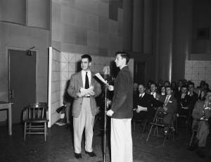 Charles Kuralt (l) and Carl Kasell (r) at the WUNC Dedication, March 13, 1953 (University of North Carolina Photographic Lab Collection #P0031, North Carolina Collection Photographic Archive, Wilson Library)
