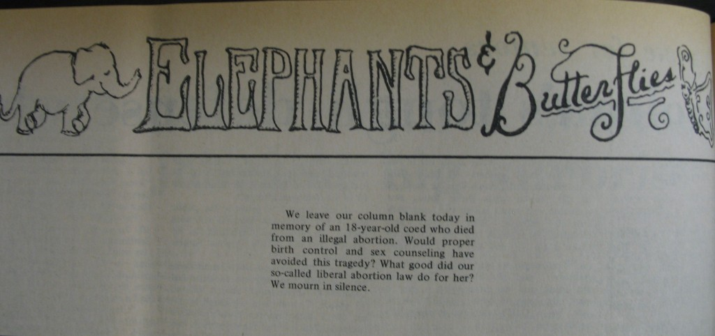"""From the """"Elephants and Butterflies"""" column in the Daily Tar Heel, 6 March 1972."""