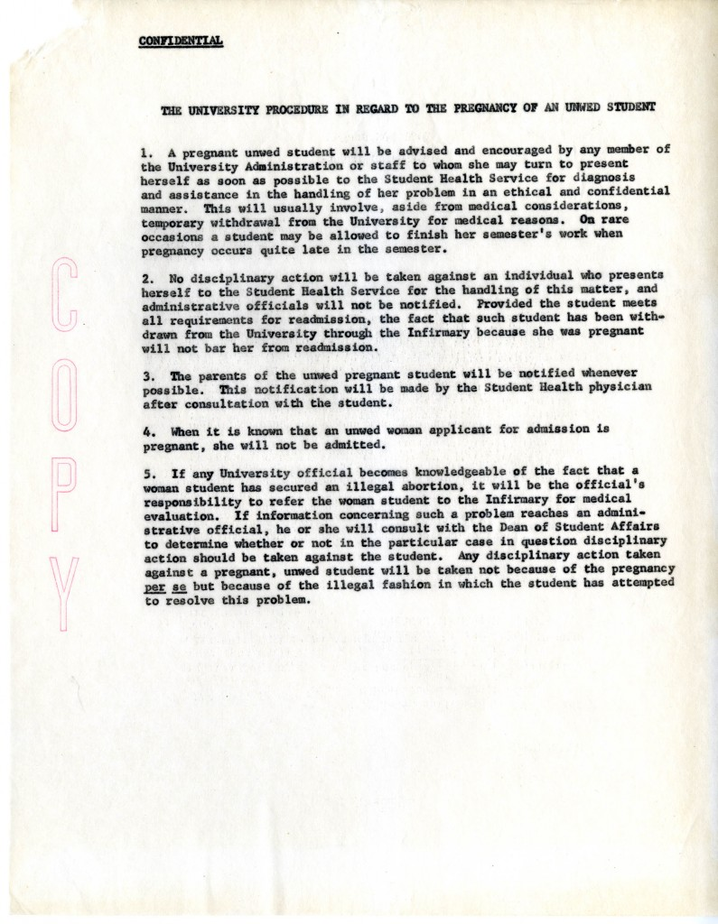 """The confidential policy regarding """"illegitimate"""" pregnancy from Box 12 of the Vice Chancellor of Student Affairs Records, Collection #40124."""
