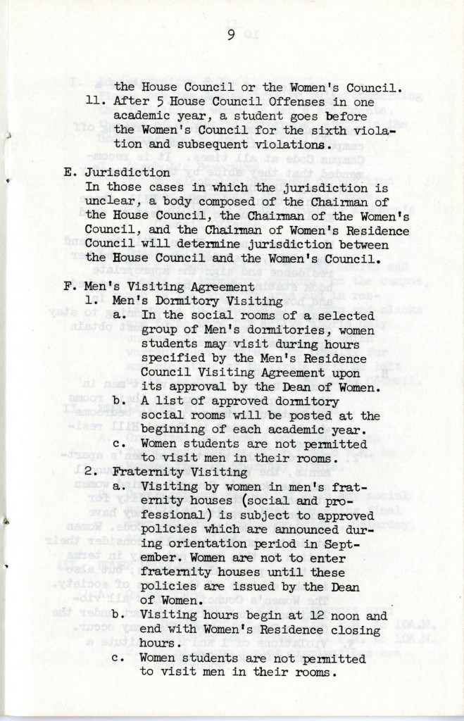 Page 9 from the book of women students' rules for the academic year of 1965-1966.  From Box 13 of the Vice Chancellor of Student Affairs Records, Collection #40124.