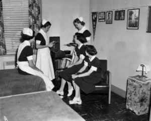 """School of Nursing: Relaxing in dorm,"" circa 1954. From Black and White Film Box 30, University of North Carolina at Chapel Hill Photographic Laboratory Collection, P0031."