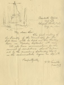 A letter from President F.P. Venable, featuring a sketch of the Old Well as it looked in 1900. (University of North Carolina Papers, University Archives)