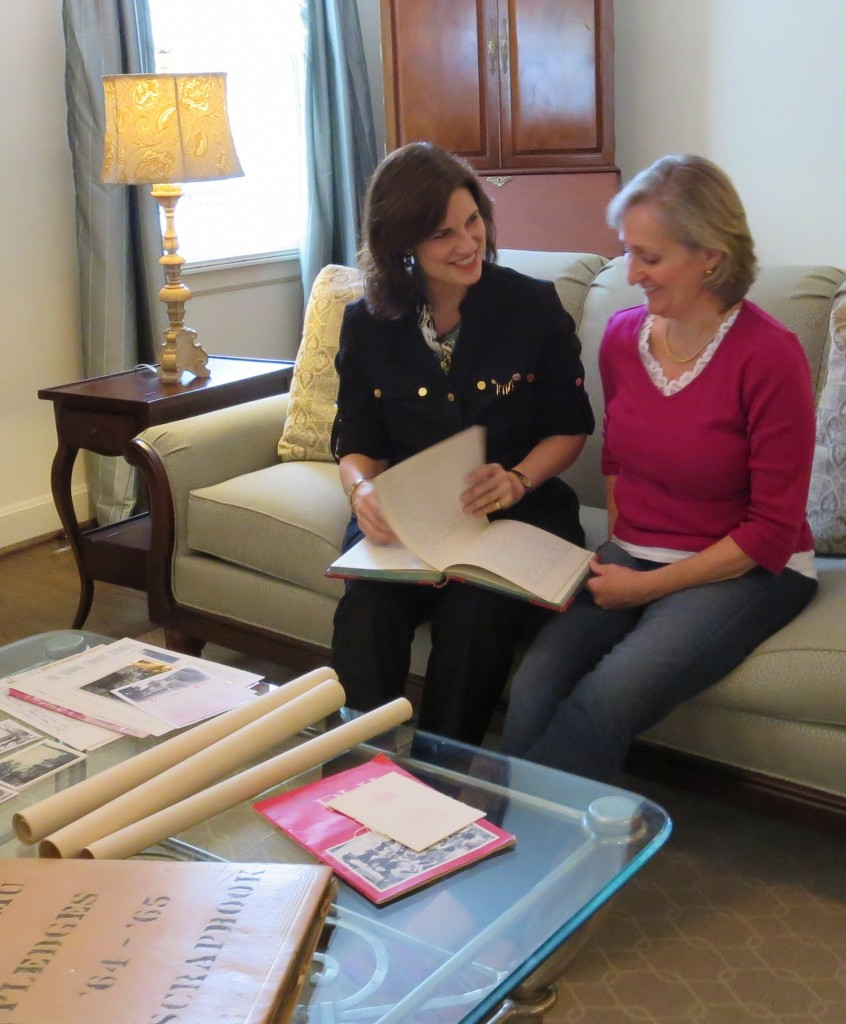 Phi Mu Chapter Association (alumnae) President Debra Pickrel and House Corporation Director Karen O'Donnell Dias discuss which materials the chapter will present to University Archives first.